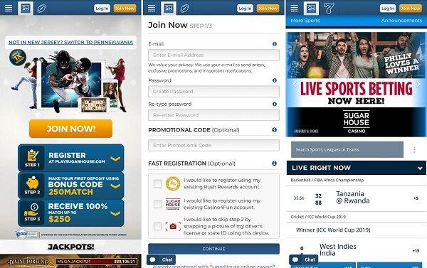 SugarHouse sportsbook app screenshots