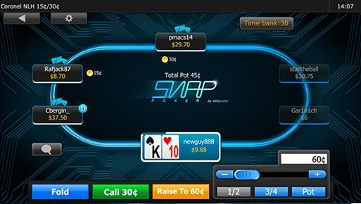 888's SNAP poker on mobile