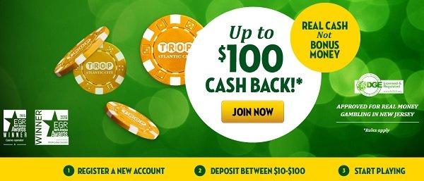 Tropicana NJ online bonus
