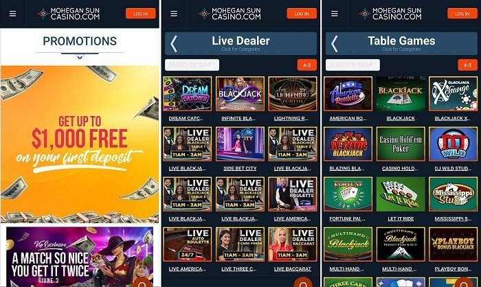 Mobile app from Mohegan Sun Casino