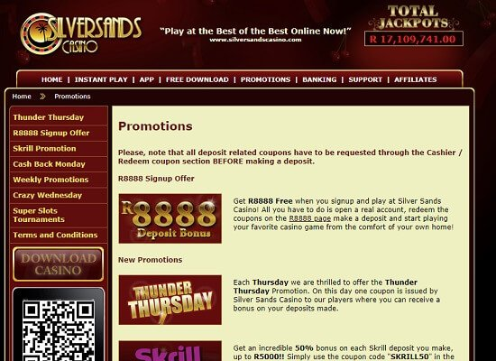 Silver sands casino free coupons no deposit fee