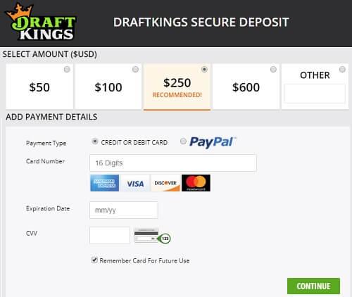 Using a prepaid card DraftKings