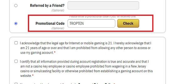 Tropicana Casino Bonus Code