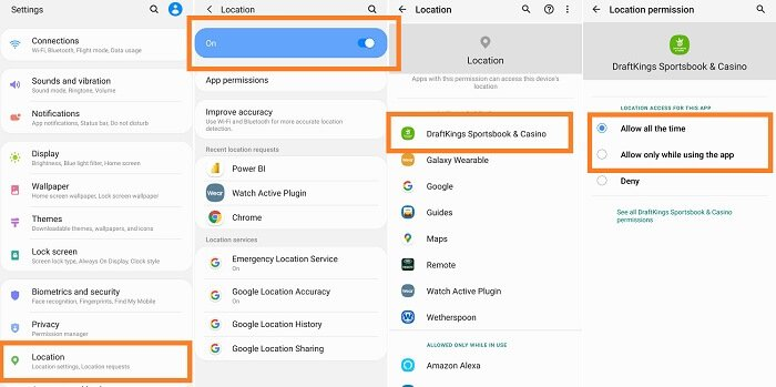 DraftKings geolocation settings