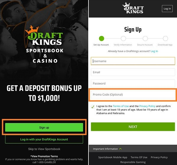 Where to enter DraftKings sportsbook promo code