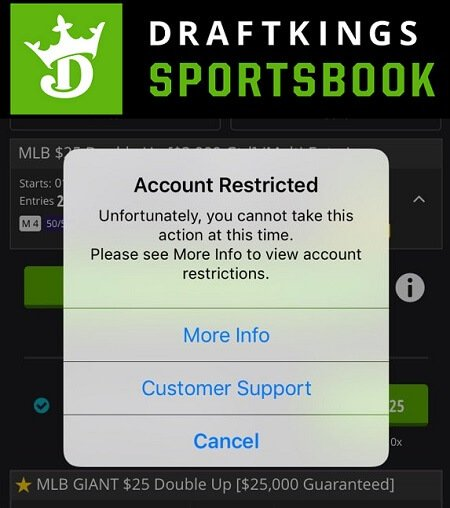 Account locked DraftKings