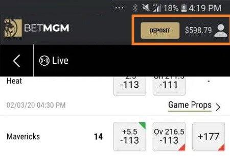 BetMGM app balance