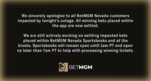 BetMGM sportsbook down NV