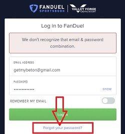 Can't log into fanduel sportsbook
