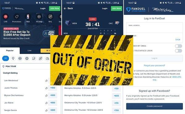 FanDuel Sportsbook app not working