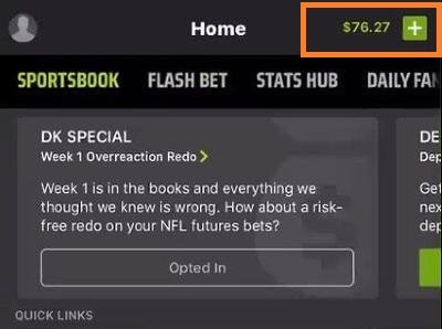 Funds DraftKings Sportsbook account