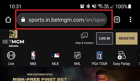 BetMGM mobile site