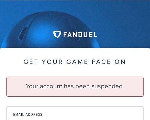 FanDuel casino account suspended
