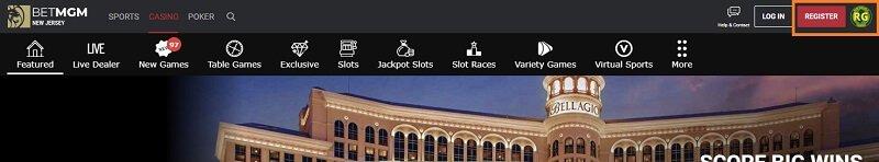 Signing up to BetMGM Casino