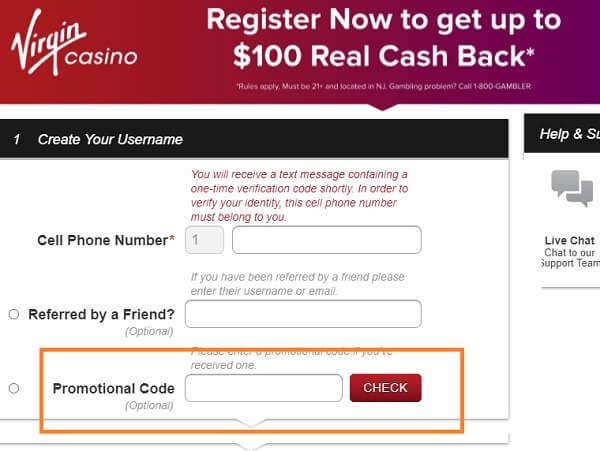 Adding a casino promo code